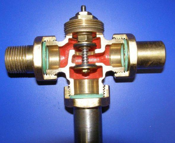 Трехходовый клапан в разрезе